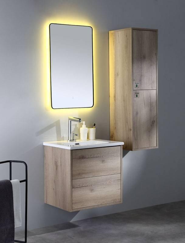 Canyon Oak Or Cement Grey Wall Mounted Bathroom Cabinet   Tono Series