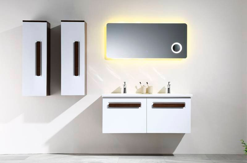 White And Walnut Wall Mounted Bathroom Cabinet With Drawers